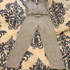 : two piece fitted gray set